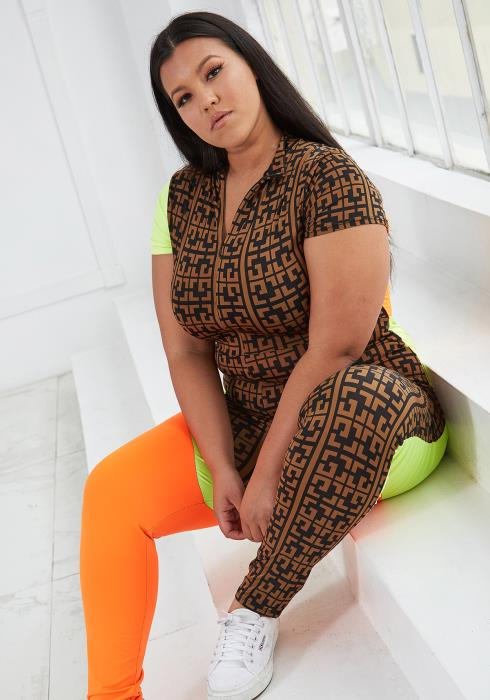 Asoph Plus Size Multi Print Fitted Jumpsuit