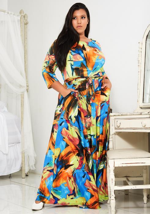 Asoph Plus Size Multi Color Flare Maxi Dress