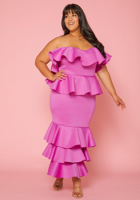 Asoph Plus Size Strapless Ruffle Tiered Maxi Dress