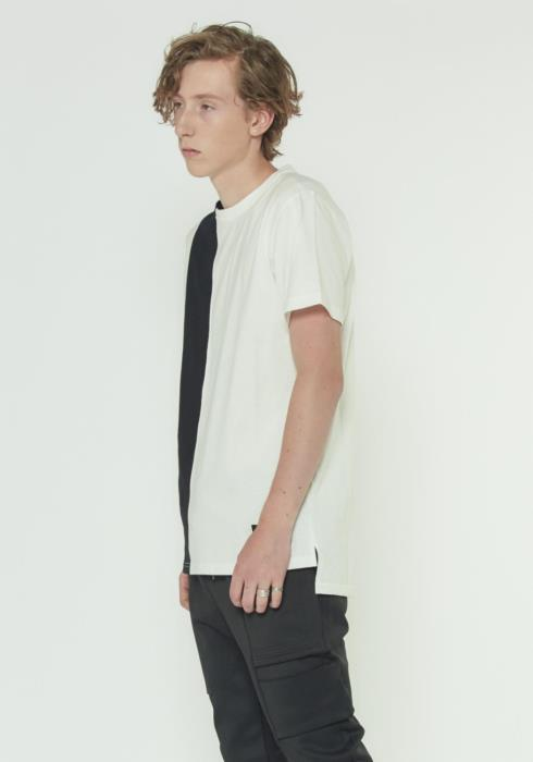 Short Sleeve Tee With Vertical Panel in Contrast Color
