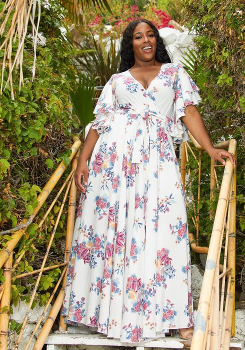 Asoph Plus Size Floral Flare Maxi Dress