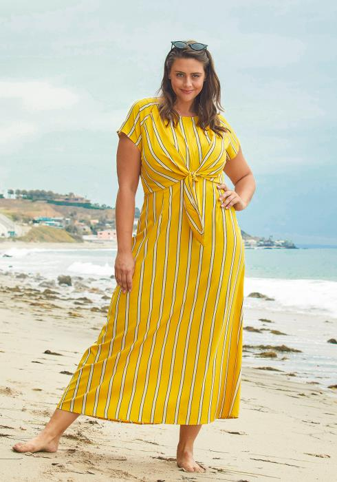 Asoph Plus Size Stripe Maxi Dress