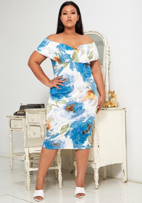 Asoph Plus Size Floral Off Shoulder Midi Dress
