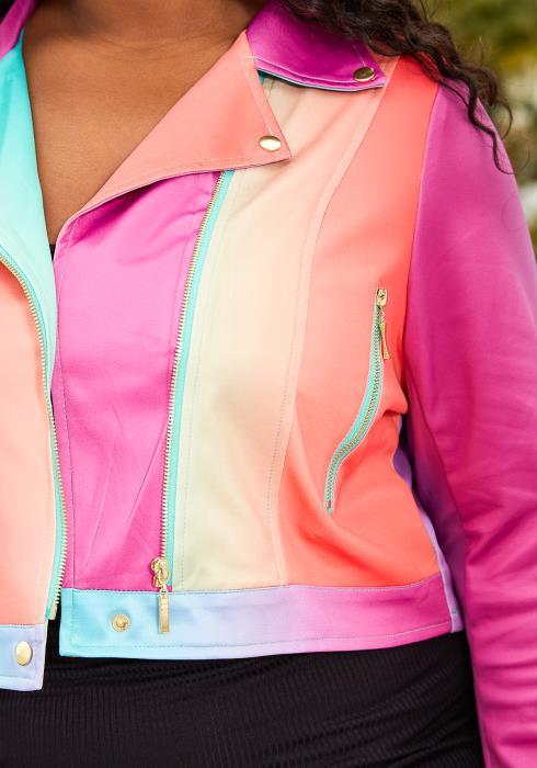 Asoph Plus Size Rainbow Crop Jacket