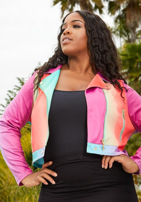 Asoph Plus Size Rainbow Crop Jacket