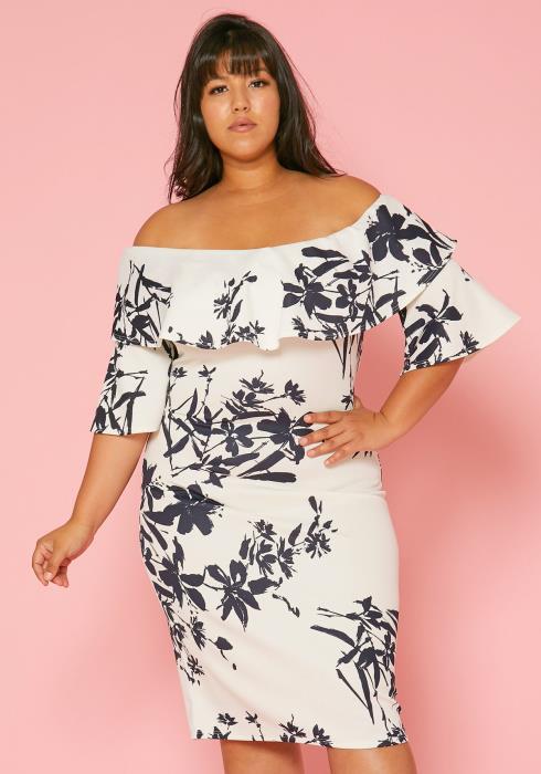 Asoph Plus Size Off Shoulder Floral Bodycon Dress