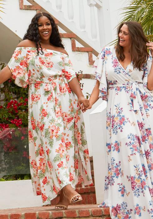 Asoph Plus Size Floral Off Shoulder Maxi Dress