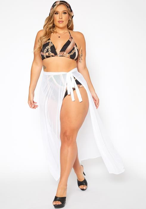 Asoph Plus Size Cover Up Mesh Maxi Skirt