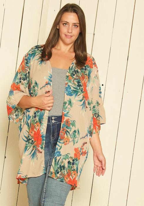 Asoph Plus Size Open Front Floral Cardigan