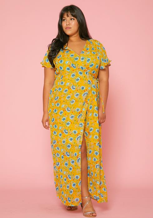 Asoph Plus Size Floral Wrap Maxi Dress
