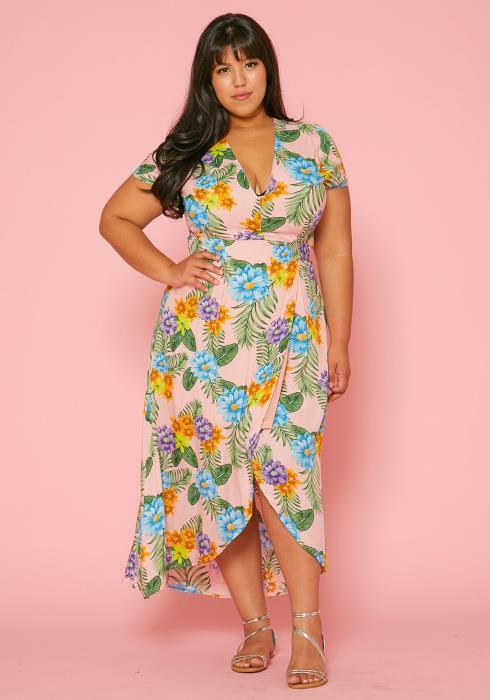 Asoph Plus Size Floral Wrap Midi Dress