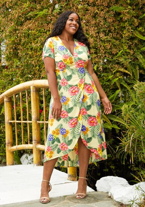 Asoph Plus Size Floral Wrap Midi Dress