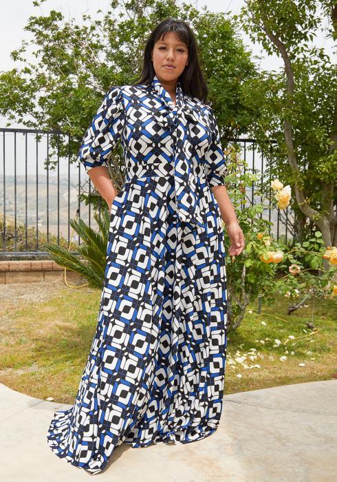 Asoph Plus Size Multi Print Flare Maxi Dress