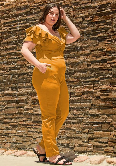 Asoph Plus Size Ruffled Flutter Jumpsuit