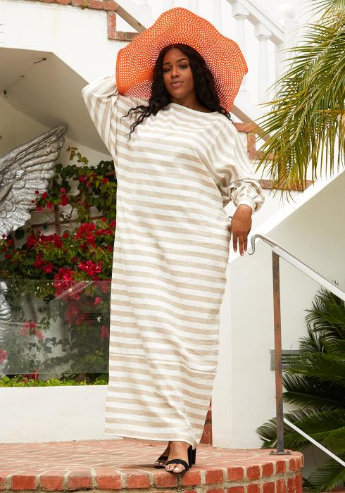 Asoph Plus Size Stripe Tunic Maxi Dress