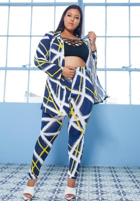 Asoph Plus Size Abstract Print Cardigan & Pants Set