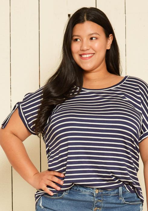 Pleione Plus Size Casual Stripe Top