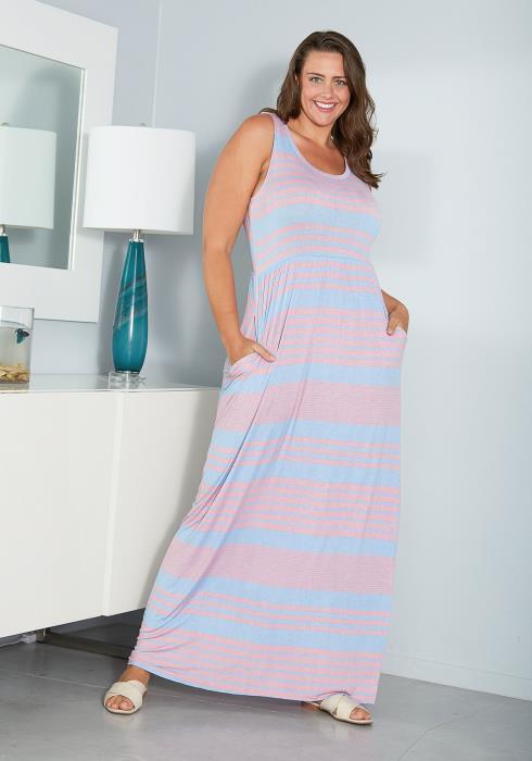 Asoph Plus Size Sleeveless Stripe Maxi Dress