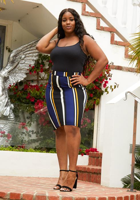 Asoph Plus Size Stripe Fitted Midi Skirt