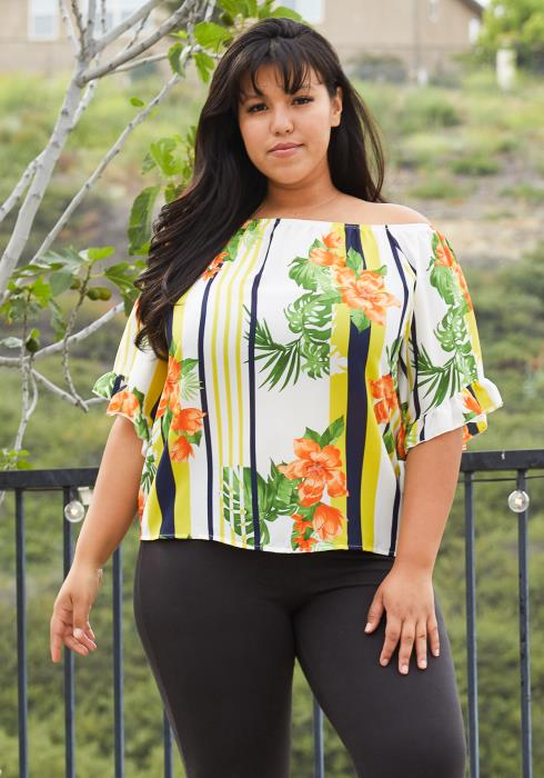 Asoph Plus Size Off Shoulder Tunic Blouse