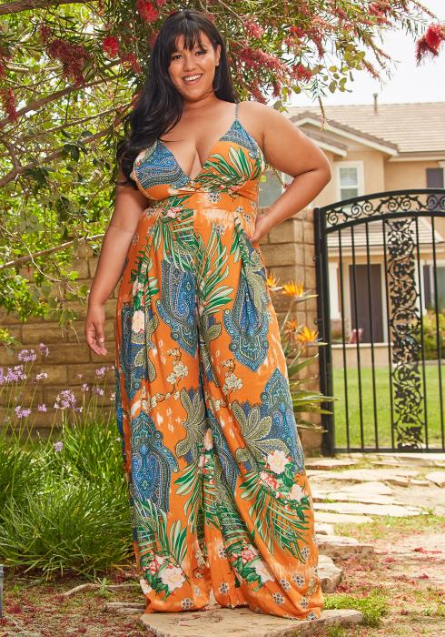 Asoph Plus Size Sleeveless Floral Jumpsuit