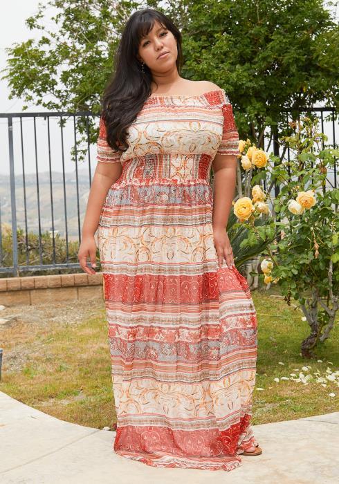 Asoph Plus Size Multi Print Chiffon Maxi Dress
