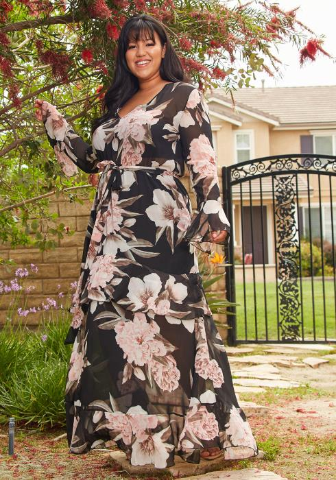 Asoph Plus Size Floral Chiffon Flare Maxi Dress