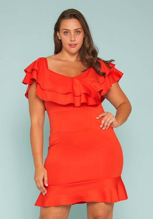 Asoph Plus Size Off Shoulder Ruffle Dress