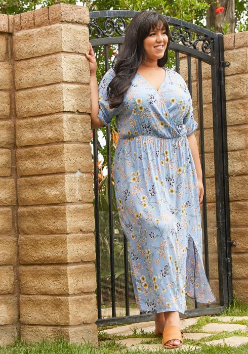 Asoph Plus Size Floral Midi Dress