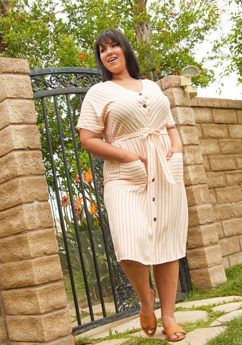 Asoph Plus Size Button Up Stripe Midi Dress