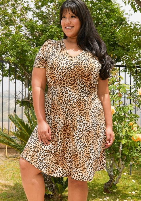 Asoph Plus Size Leopard Print Mini Flare Dress