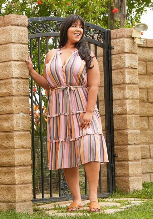 Asoph Plus Size Stripe Tiered Midi Dress