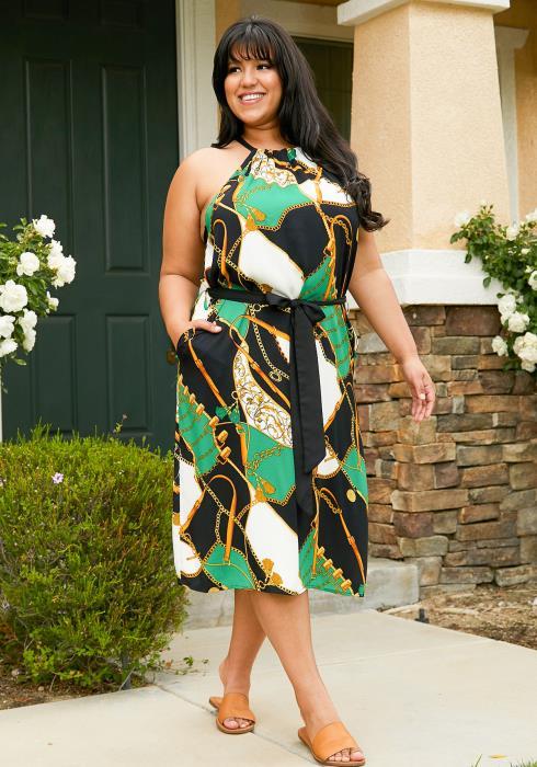 Asoph Plus Size Multi Print Halter Midi Dress