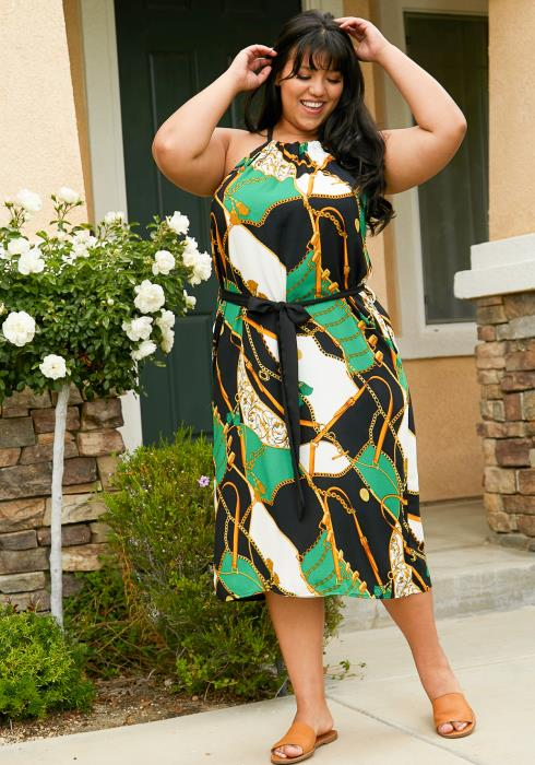 Asoph Plus Size Multi Print Halter Midi Dress