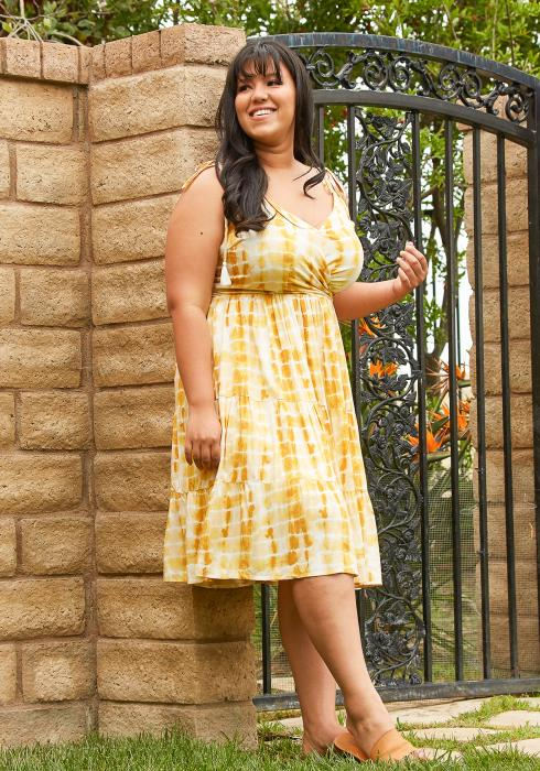 Asoph Plus Size Tie Dye Tiered Dress