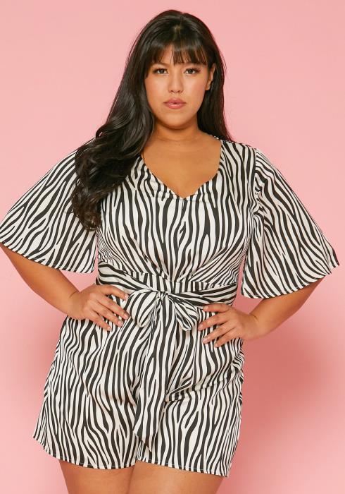 Asoph Plus Size Zebra Print Romper