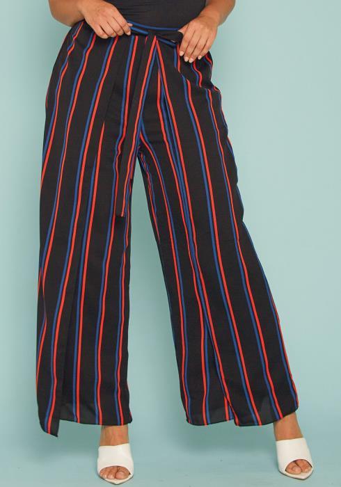 Asoph Plus Size Stripe Wrap Palazzo Pants