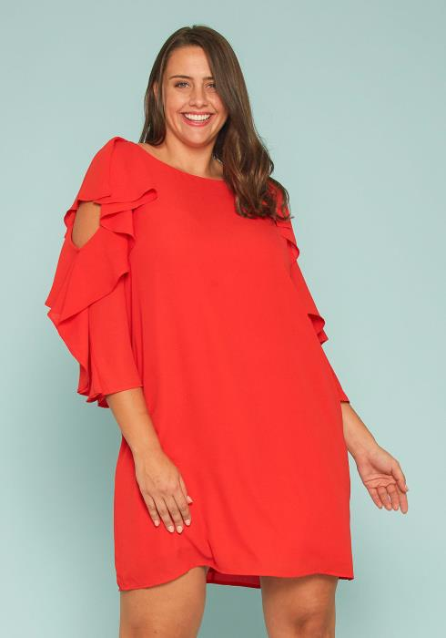 Asoph Plus Size Asymmetrical Chiffon Shift Dress