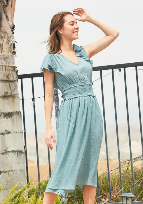Tansy Smocked Flutter Midi Dress