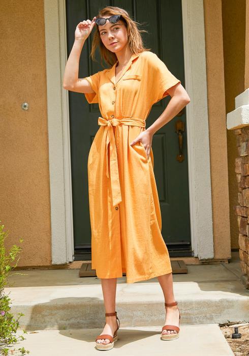 Tansy Button Up Midi Shirt Dress