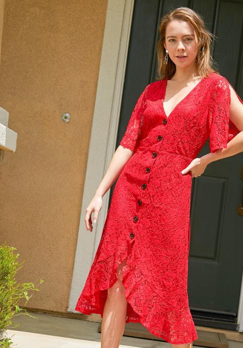 Tansy Lace Button Up Midi Dress