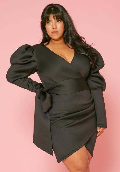 Asoph Plus Size Bow Wrap Dress