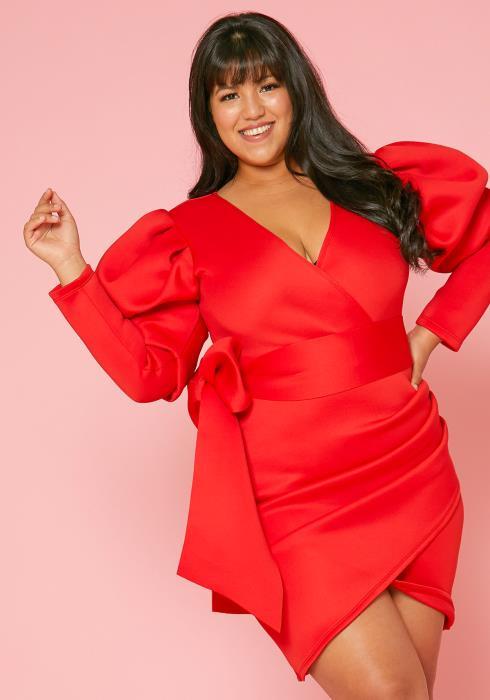 Asoph Plus Size Bow Wrap Dress