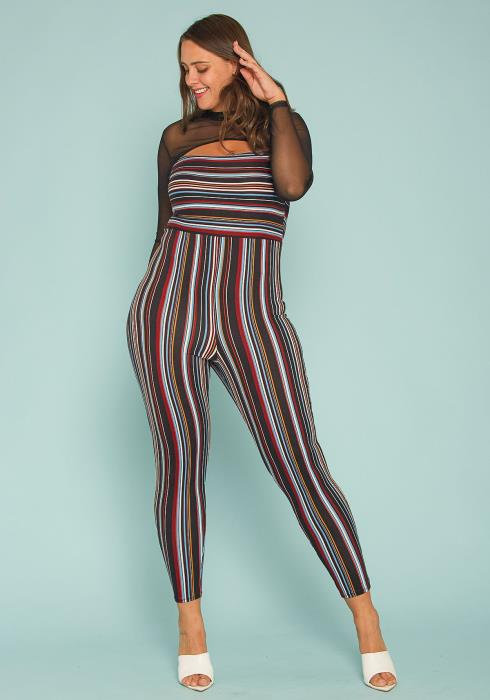 Asoph Plus Size Stripe Fitted Jumpsuit