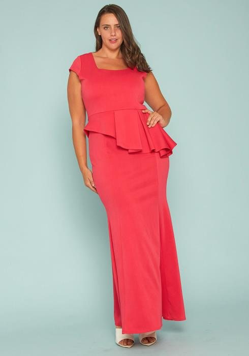 Asoph Plus Size Peplum Evening Gown