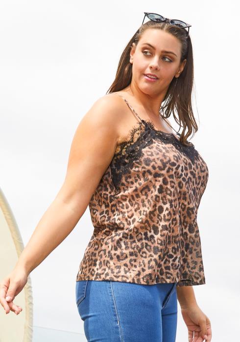 Asoph Plus Size Leopard Print Cami Top