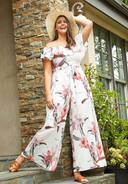 Asoph Plus Size Floral Off Shoulder Jumpsuit