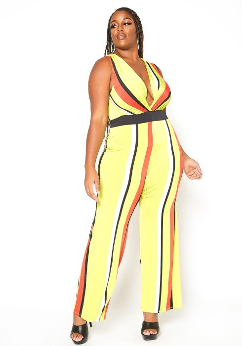 Asoph Plus Size Striped Sleeveless Jumpsuit