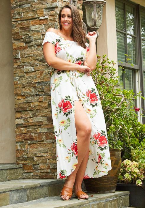 Asoph Plus Size Floral Off Shoulder Cape Skirt Romper
