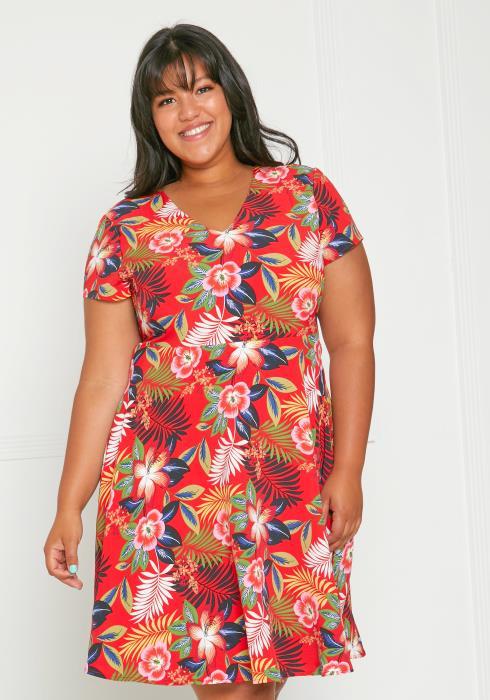 Asoph Plus Size Floral Print Sun Dress